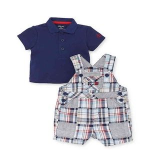 Brand New Little Me Plaid Overall & Polo Set